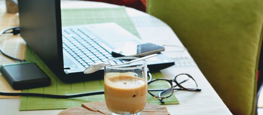 Working From Home Table With Coffee