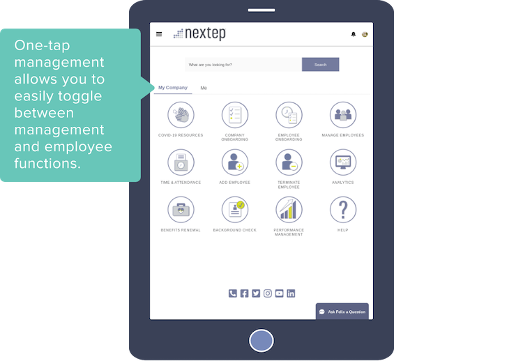 One-tap management allows you to easily toggle between management and employee functions.