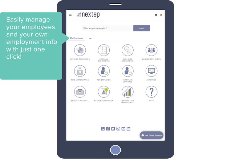 Easily manage your employees and your own employment info with just one click!