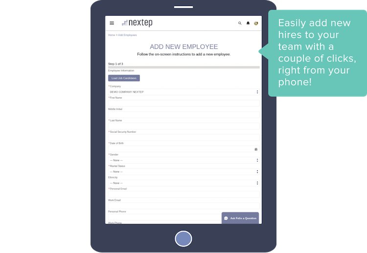 Easily add new hires to your team with a couple of clicks, right from your phone!